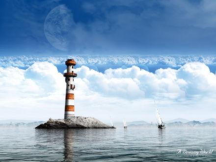 Обои Маяк на фоне облаков и небольшие яхты (A Dreamy World, a man's dreams are an index to his greatness)