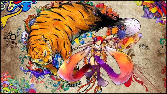 Обои Анимешка и огромный тигр и рыбы