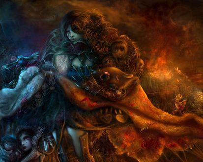 Обои Коллаж на тему девушек сов сказок и снов