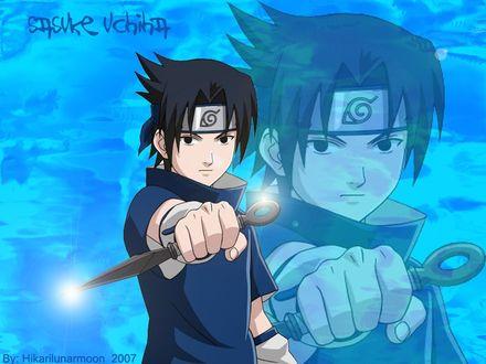 Обои Саске с кунаем (Sasuke Uchiha)