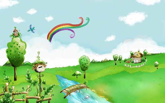 Обои Красивый пейзаж: быстрая речка, вьющаяся радуга