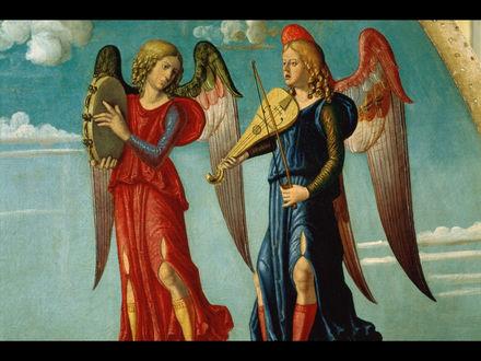 Обои Ангелы с музыкальными инструментами