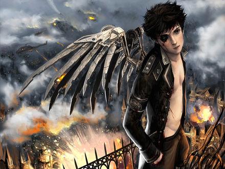 Обои Молоденький лейтенантик с механическими крыльями передыхает на крыше дома, вдали видна жестокая битва...