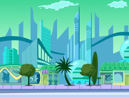 Обои Рисованный идеальный город с небоскребами