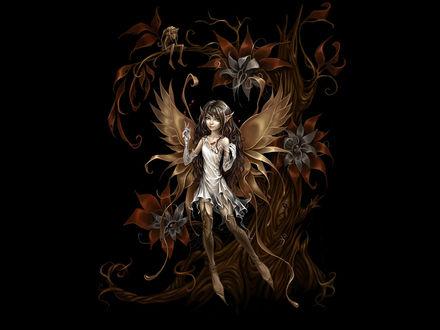 Обои Милая эльфийка на фоне фантастического дерева, на котором сидит влюблённый в неё карлик
