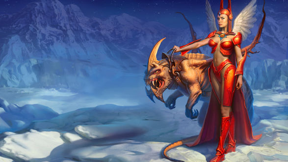 Обои Ангел в красных доспехах с ручным монстром на фоне ледовых гор из игры Etherlords II / Демиурги 2