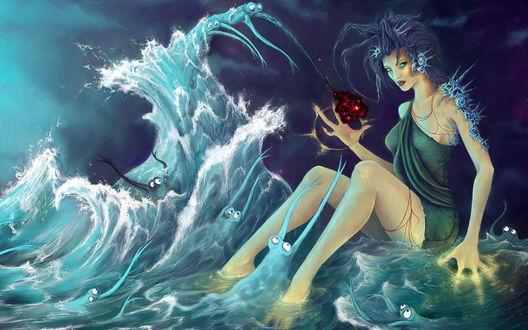 Обои Злая колдунья держит в руках что-то очень привлекательное для странных морских существ