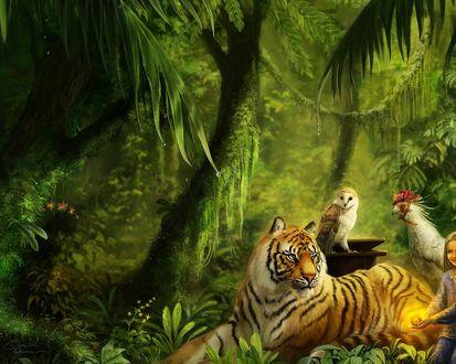 Обои В сказочном лесу девочка собрала вокруг себя всех своих друзей: могучего тигра, мудрую сову, и важную курицу