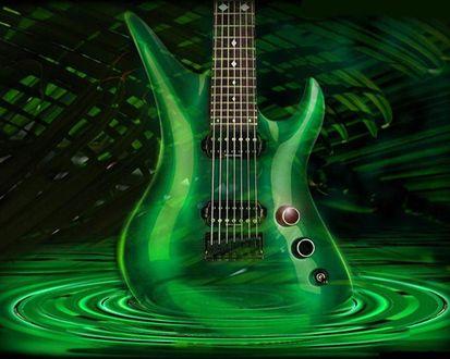 Обои Призрачная зеленая гитара в зеленой луже
