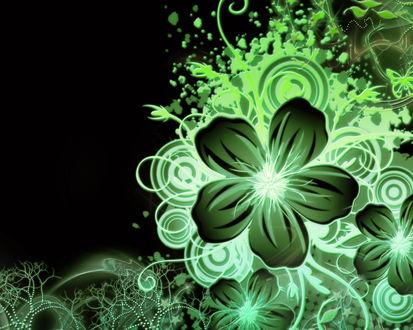 Обои Зеленые цветочки