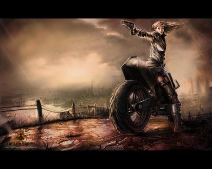 Обои Постапокалиптический пейзаж и девушка с пистолетом на мотоцикле (Fallen earth)