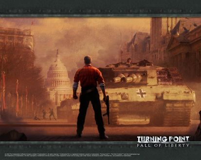 Обои Рисунок к игре (Turning point Fall of liberty) Посреди америки один солдат герой с автоматом против танка