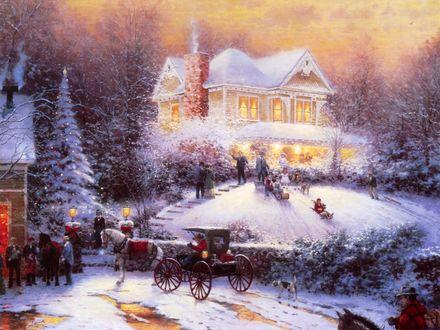 Обои Так справляли Новый год в прошлом веке, Сказочный домик, с горки катаются дети на санках, огромная ёлка украшена герляндами, люди ездиют друг к другу в гости в каретах
