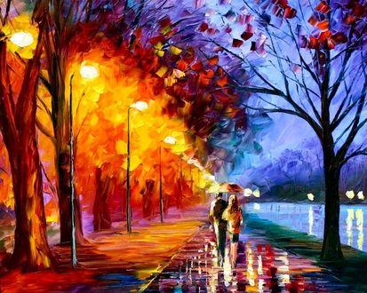 Обои Осень.. дождь.. аллея парка.. в багряц одетые деревья.. влюблённая парочка под зонтом