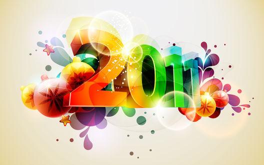 Обои 2011 - разноцветная надпись, новогодние игрушки, звёздочки