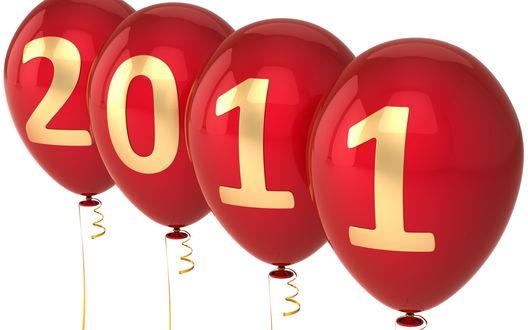 Обои Скоро Новый год! Шары с надписью 2 0 1 1