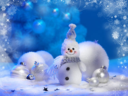 Обои Снеговик и игрушки