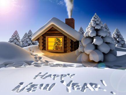 Обои Домик с украшенной внутри елкой в снежном лесу и надпись (Happy New Year)