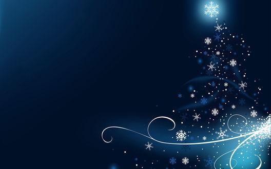 Обои Снежинки расположены в форме новогодней ёлочки