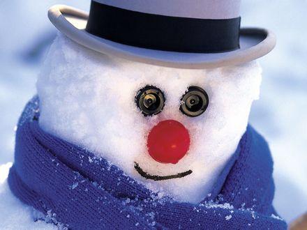 Обои Веселый снеговик с пуговицами вместо глаз