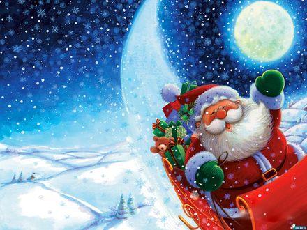 Обои Луна. Зима. Новый Год. Санта на санях с подарками летает над снежными просторами
