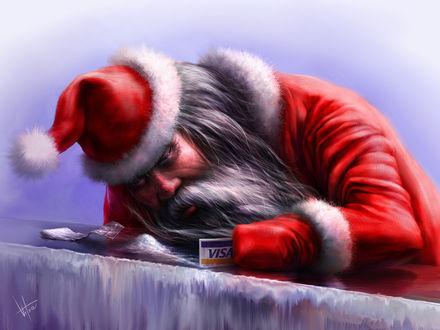 Обои Дед мороз нюхает снег собирая его карточкой виза как кокаин (VISA)