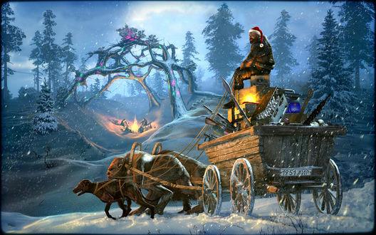 Обои Рождество на зоне в Сталкере, телега запреженная мутантами с номером 1951ЖИР