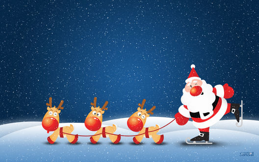 Обои Дед мороз на коньках и олени (creat Sandall)