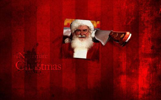 Обои Нож воткнут в фотографию Санта-Клауса (The Nightmare for Christmas)