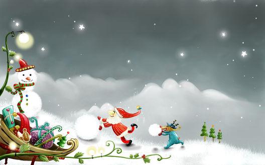 Обои Маленький дед Мороз с весёлым оленем катают снежки, рядом снеговик и санки с подарками
