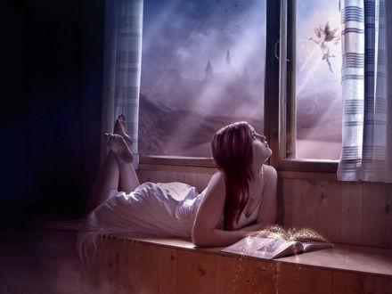 Обои Девушка на окне смотрит на эльфа