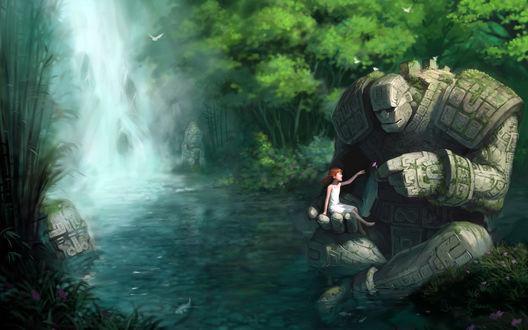 Обои Девушка с каменным монстром, который сидит в озере и дарит ей цветочек