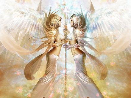 Обои Ангелы  с жезлом