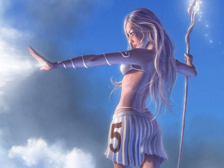 Обои Девушка с жезлом в небесах