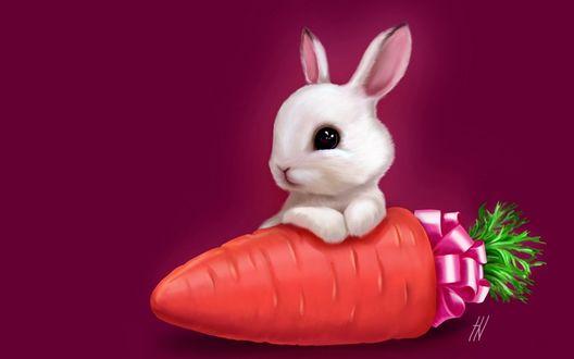 Обои Зайка с новогодним подарком-вкусной морковкой