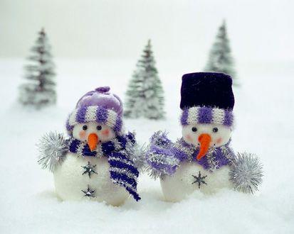 Обои Два похожих плюшевых снеговика