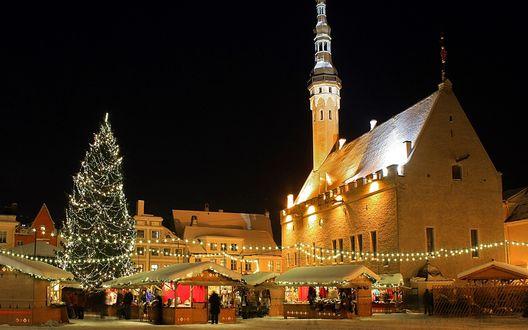 Обои Новогодний базар в Старой Риге.