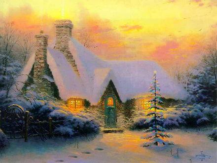 Обои Новогодний пейзаж-уютный домик с большими трубами, одиноко стоящий в лесу, а перед ним, конечно, празднично украшеная ёлочка.