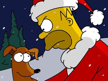 Обои Гомер Симпсон в роли Деда Мороза, рядом собака