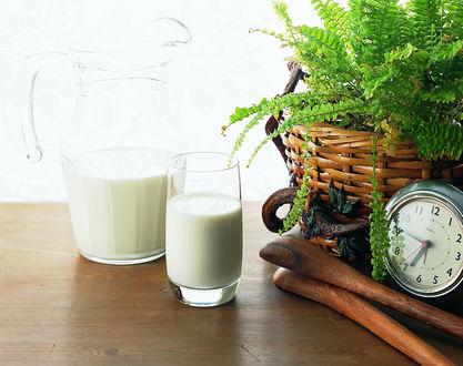 Обои Стакан молока на утро