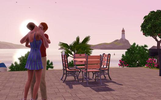 Обои Как хочется в зимний студёный день побывать этом райском уголке, где растут пальмы, плещется голубой океан и царит любовь.. Игра The Sims 3
