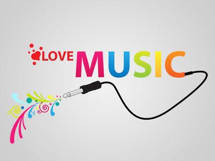 Обои Love music-из надписи выходит провод со штекером