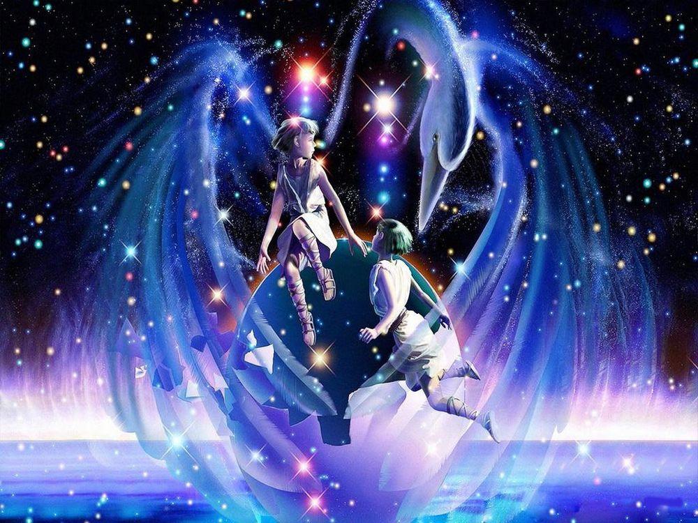 Обои для рабочего стола Близнецы. 2 ангела - ребёнка парят в ночном звёздном небе