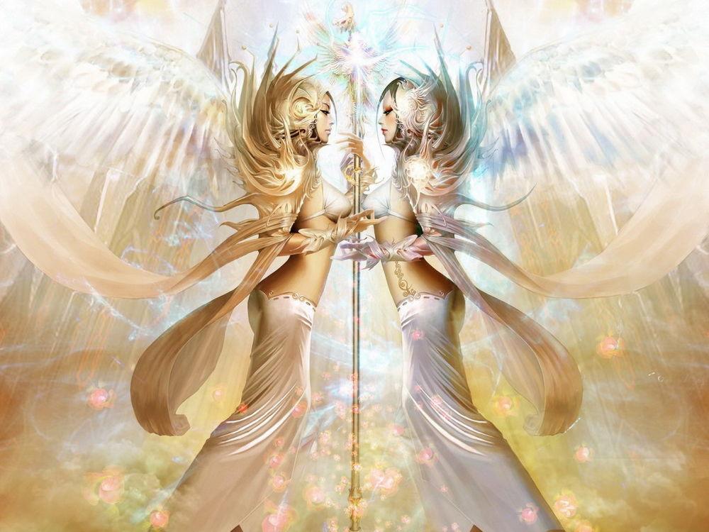Обои для рабочего стола Ангелы  с жезлом