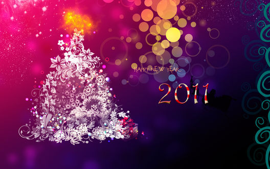Обои Happy new  year 2011, ёлочка из цветов