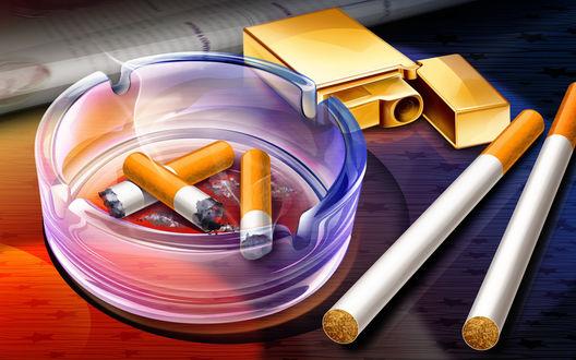 Обои Окурки сигареты и зажигалка