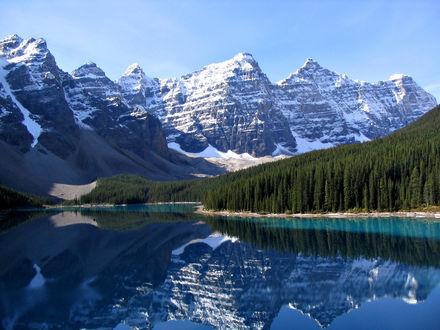 Обои Горный пейзаж: снег на скалах, зеленый лес из ёлок и горное озеро