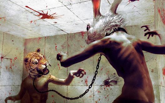 Обои Жаркая схватка двух монстров, полу-людей, полу-животных, один с головой кролика, другой-тигра, символов прошедшего и нынешнего годов.