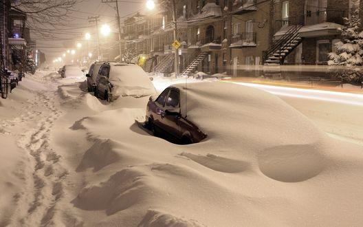 Обои Город занесен снегом