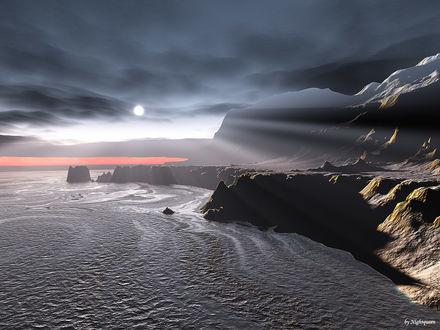 Обои Cумрачный мир океан, скалы, солнце сквозь тучи...